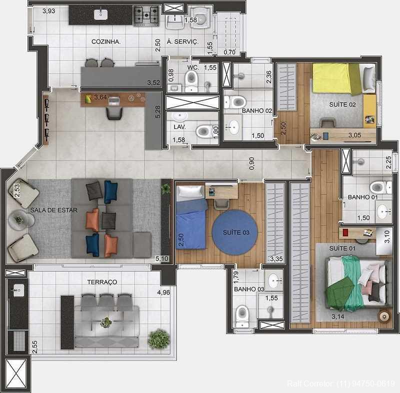 gran maia piazza 3 dormitórios